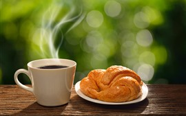 Preview wallpaper Bread, coffee, steam, breakfast
