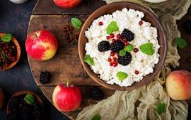 미리보기 배경 화면 아침 식사, 치즈, 빨간 사과, 블랙 베리
