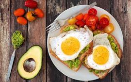 Preview wallpaper Breakfast, eggs, sandwich, tomatoes, avocado
