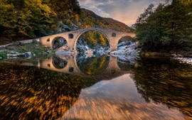 Preview wallpaper Bulgaria, Devil's Bridge, mountain, trees, river, water reflection, autumn