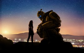 Preview wallpaper Bumblebee, girl and robot, starry, sky, night