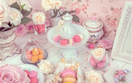 Preview wallpaper Cakes, roses, kettle