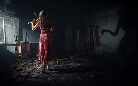 Preview wallpaper Chernobylite 2019, PC game, girl, back view, violin