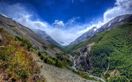 Preview wallpaper Chile, valley, mountains, river, nature landscape