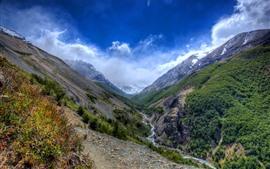 Чили, долина, горы, река, Природа пейзаж