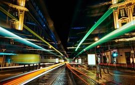 Cidade, rua, linhas claras, brilho, noite, velocidade