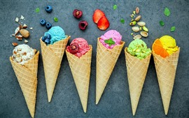 Preview wallpaper Colorful ice cream, berries, dessert