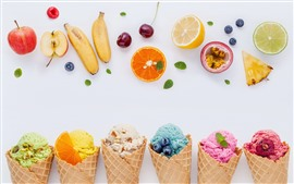 Preview wallpaper Colorful ice cream, fruit, white background