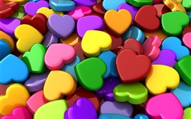 Preview wallpaper Colorful love hearts, 3D picture