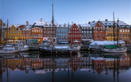 Preview wallpaper Copenhagen, Denmark, New Harbor, boats, houses, colors, snow, winter