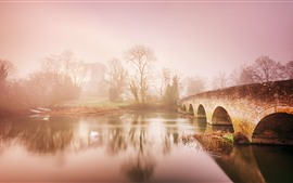 Preview wallpaper Countryside, river, bridge, trees, dawn, fog
