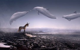 Preview wallpaper Creative picture, deer horse, horns, whale flight in sky