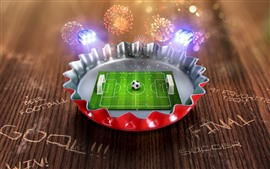 Preview wallpaper Creative picture, mini football ground, cover, fireworks