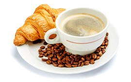 Croissant, coffee, cup, foam, white background