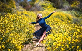 Preview wallpaper Dancing girl, blue skirt, yellow flowers, nature