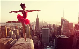 Preview wallpaper Dancing girl, red skirt, roof, city