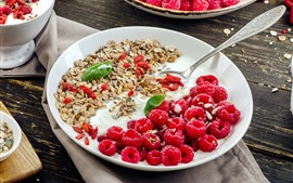 Preview wallpaper Delicious breakfast, yogurt, muesli, red raspberry