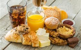 미리보기 배경 화면 맛있는 음식, 빵, 컵케잌, 오렌지 주스, 치즈