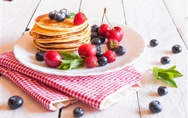 Preview wallpaper Delicious pancakes, blueberry, strawberry, cherry