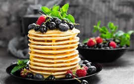 Preview wallpaper Delicious pancakes, many layers, honey, blueberries