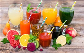 Different kinds of juice, colorful, cups, fruit