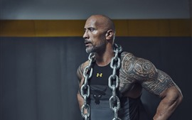 Preview wallpaper Dwayne Johnson, actor, iron chain