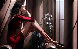 Фэнтези Девушка, Красная юбка, окно, цветы