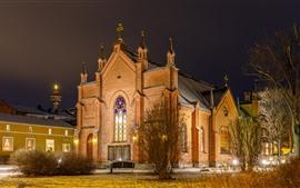 壁紙のプレビュー フィンランド、タンペレ、教会、夜、ライト