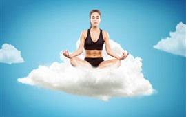 Preview wallpaper Fitness girl, yoga, clouds, sky