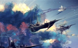 Flight ships, sky, clouds, art picture