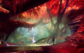 Preview wallpaper Forest, red leaves, waterfall, robot, art picture