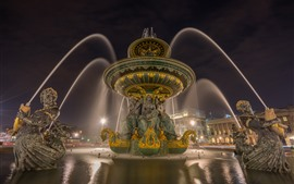 France, Paris, fountain, night