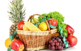 Preview wallpaper Fruit and vegetables, corn, apples, lemon, pineapple, basket