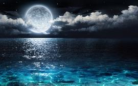 Полная луна, синее море, облака, ночь, красивый пейзаж природы