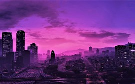 Preview wallpaper GTA 5, city at night, purple style, skyscrapers