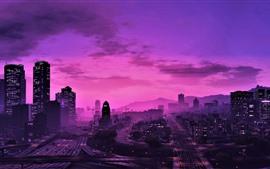 Aperçu fond d'écran GTA 5, ville la nuit, style violet, gratte-ciels