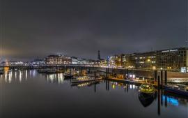 Alemanha, hamburgo, cais, barcos, luzes, rio, noturna