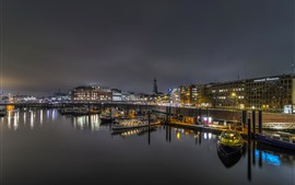 Германия, Гамбург, пирс, лодки, огни, река, ночь
