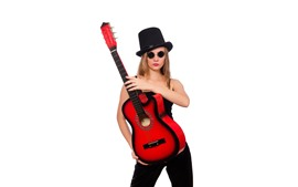 Preview wallpaper Girl and guitar, hat, glasses, white background