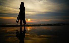 Preview wallpaper Girl back view, silhouette, beach, sea, sunset