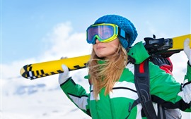 Preview wallpaper Girl, ski, winter, snow