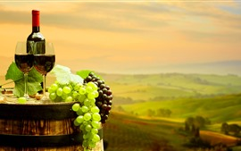 Preview wallpaper Green and red grapes, red wine, bottle, cups, barrel