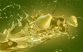 Green pears, water splash, creative design picture