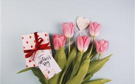Feliz dia das mães, tulipas cor de rosa, presente