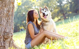 Preview wallpaper Happy girl and husky dog, grass, summer