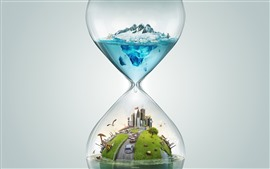 Preview wallpaper Hourglass, city, cars, polar bear, snow, sea, creative design