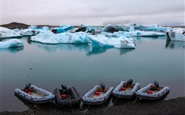 Preview wallpaper Iceland, blue ice, boats, sea