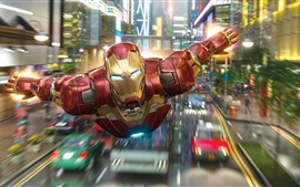 Preview wallpaper Iron Man flight, city, Marvel superhero