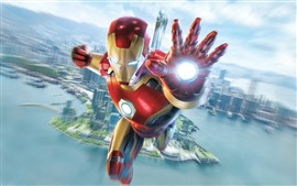 Preview wallpaper Iron Man, flight, hand, city, sky