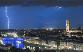 Preview wallpaper Italy, Florence, lightning, city, night, lights